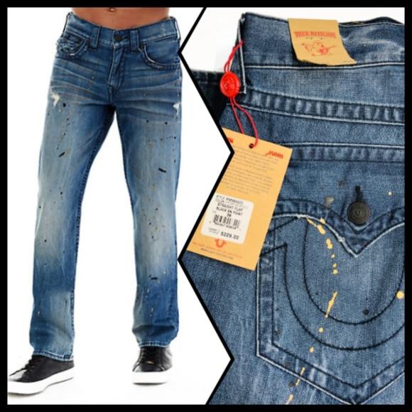 914f1e211  229 Paint Splatter True Religion Men Jeans 36 NEW